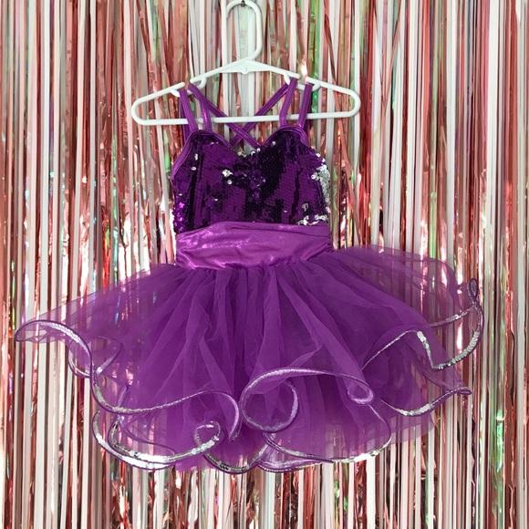 Weissman's purple silver flip sequin dance costume